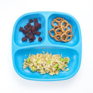 toddler lunch recipe - Mango rice + edamame, roasted beets with nutmeg and pretzels