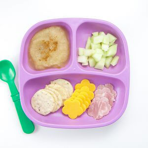 toddler lunch recipe - cheese and crackers, just pear purée and honeydew melon