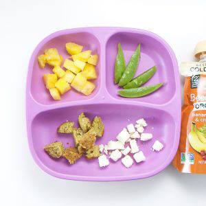 toddler lunch recipe - feta, chopped pineapple and sliced snap peas