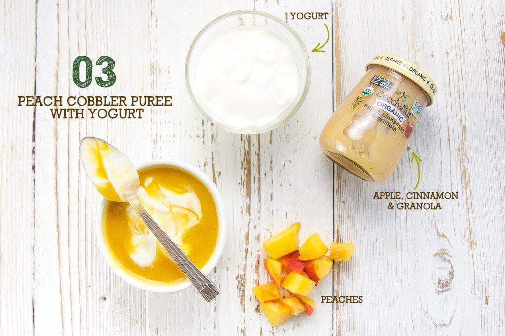 peach cobbler purée with yogurt
