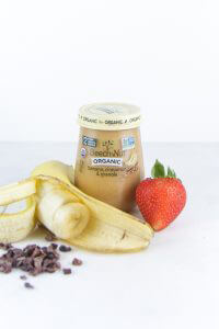 beech-nut banana_cinnamon banana purée on a bagel