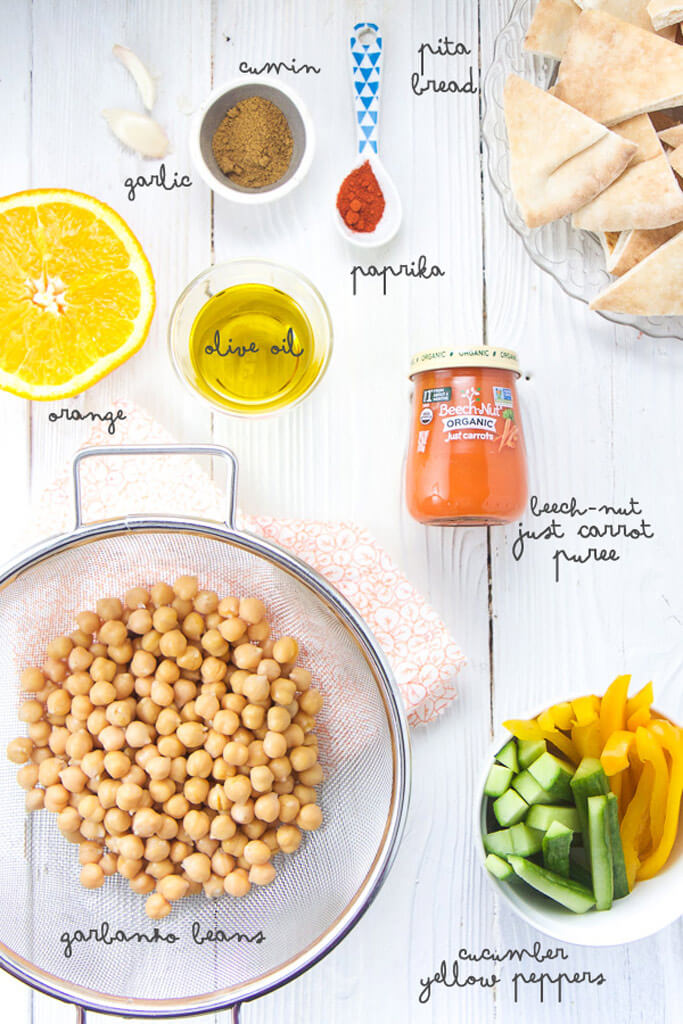 ingredients for beech-nut carrot hummus